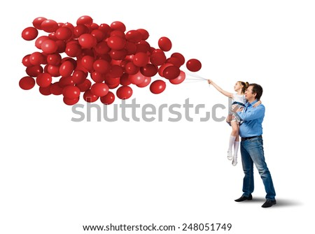 Happy father and daughter with bunch of balloons isolated on white - stock photo