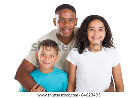 happy father and kids - stock photo