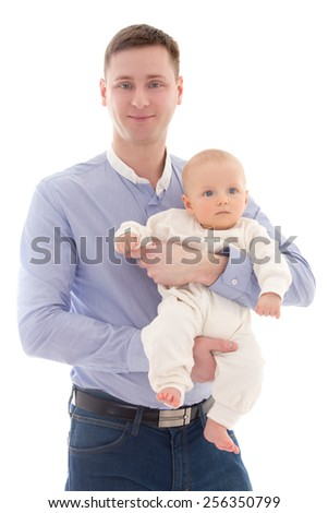 happy father and little son isolated on white background - stock photo