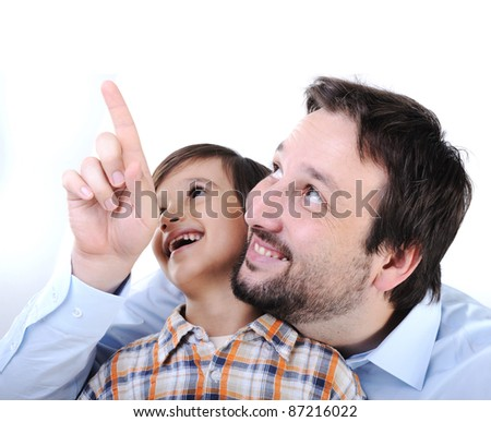 Happy father and son - stock photo