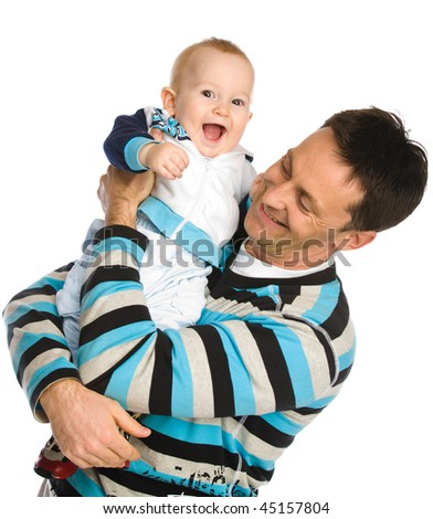 Happy father and son isolated on white - stock photo
