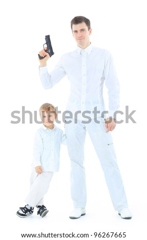 Happy father and son. Isolated on white - stock photo