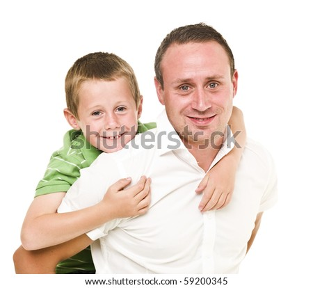 Happy Father and son isolated on white background - stock photo