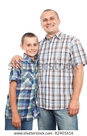 Happy father and son, isolated on white background - stock photo
