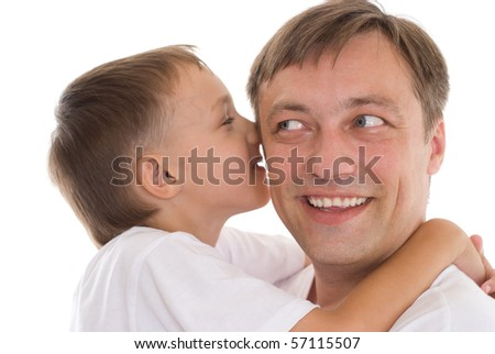 happy father and son on a white background - stock photo