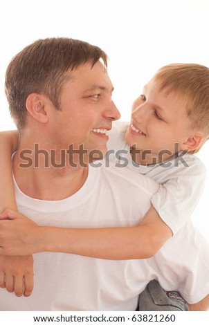 happy father and son on a white background