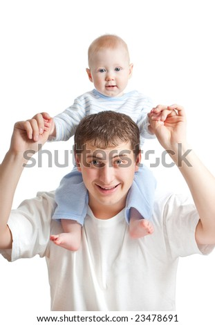 happy father and son on white background - stock photo