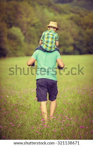 Happy father and son time concept - stock photo