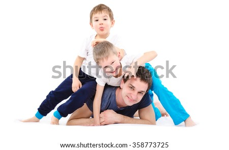 Happy father and sons, isolated on white background  - stock photo