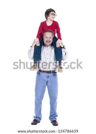Happy father carrying his son on his back over a white background
