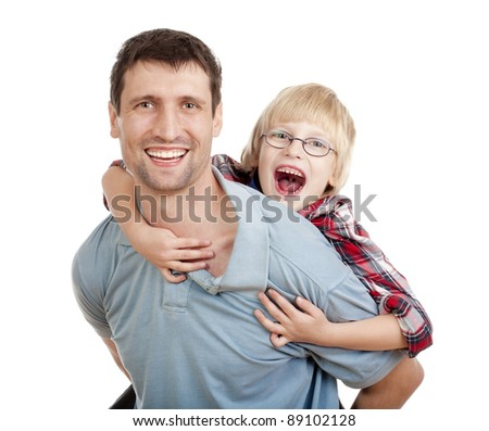 happy father giving his son piggy back ride - isolated on white - stock photo