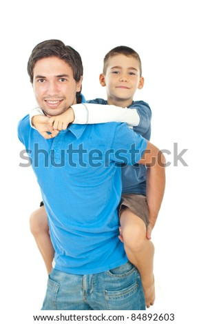 Happy father giving piggyback to his son  isolated on white backgorund - stock photo