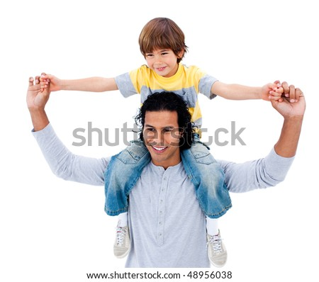 Happy father having fun with his son against a white background