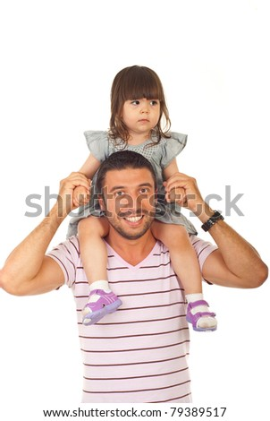 Happy father holding daughter on his shoulders isolated on white background - stock photo