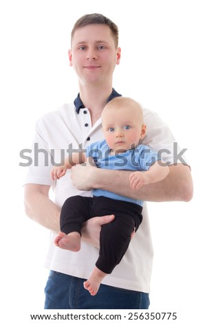 happy father holding his little baby son isolated on white background - stock photo