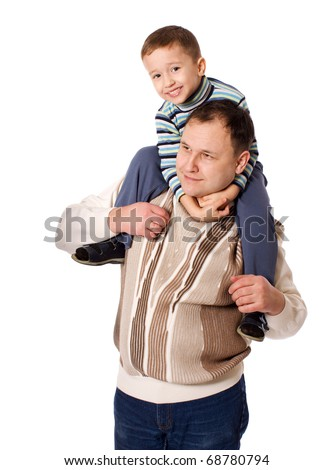 Happy Father holding son on shoulders isolated on white