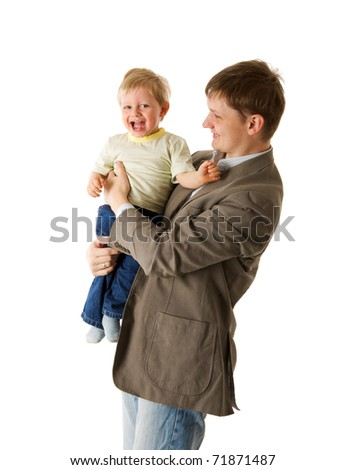 Happy father holding two years son isolated on white