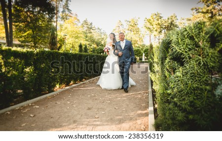 Happy father leads beautiful bride to the altar at park - stock photo