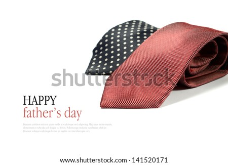 Happy Father's Day concept image with two smart generic business man's ties folded against a white background. Copy space. - stock photo