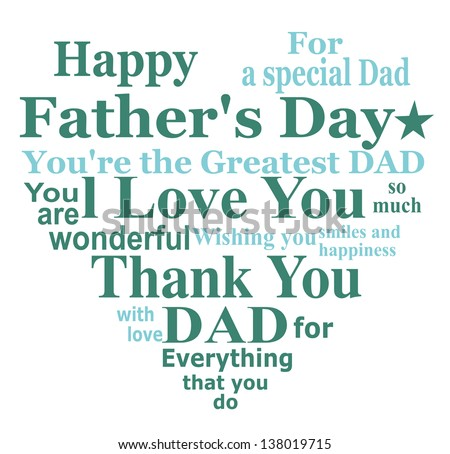 Happy Father's Day! Message card design on white background