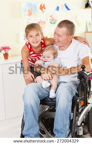 Happy father with his children - stock photo