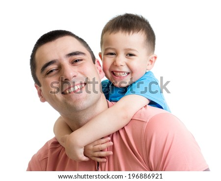 happy father with his kid son on his back isolated on white - stock photo