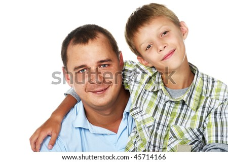happy father with his son; closeup faces - stock photo
