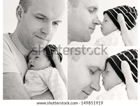 happy father with newborn son on a white background (collage) - stock photo