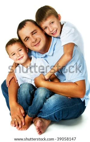 happy father with two sons - stock photo