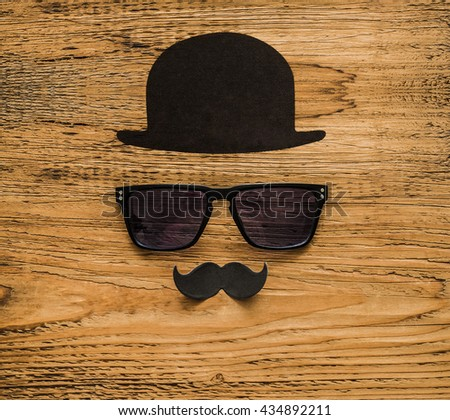 Happy fathers day sticker wooden glasses or sunglasses black paper mustache and hat on