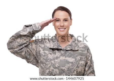 Happy female American soldier saluting  - stock photo