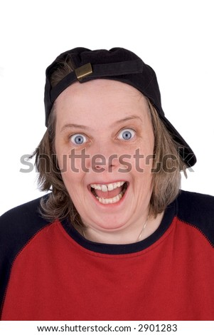 Happy female baseball fan with baseball hat and t-shirt, over white - stock photo