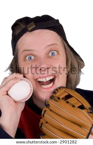 Happy female baseball fan with baseball hat,glove,mitt and t-shirt - stock photo