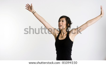 Happy Female Celebration Reaching for the Sky Success White Background - stock photo