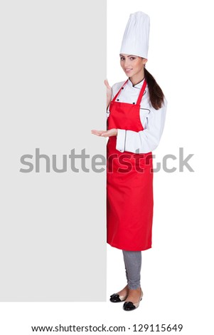 Happy Female Chef Holding Placard. Isolated On White