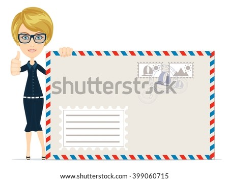 Happy female Delivering Mail with large envelopes Over White Backgroun. Stock illustration - stock photo
