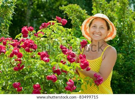 Happy female gardener in roses plant at garden - stock photo