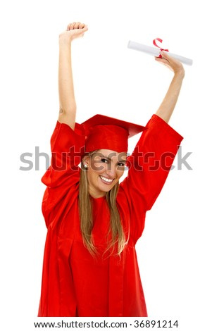 Happy female grad student isolated over white - stock photo