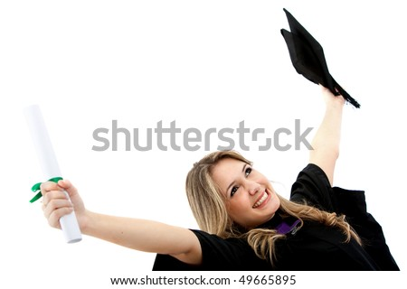 Happy female graduate holding her diploma and smiling isolated over a white background - stock photo