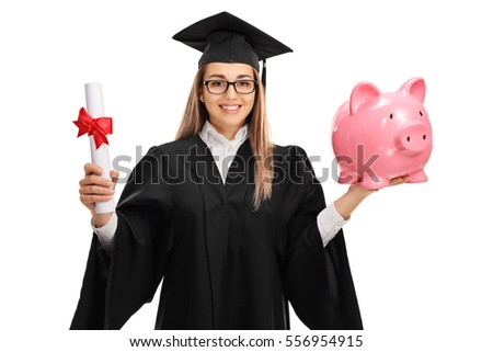 Happy female graduate student holding a diploma and a piggybank isolated on white background
