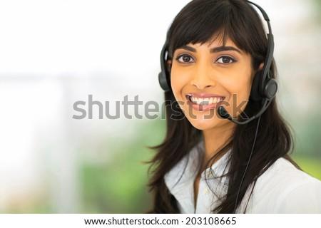 happy female indian call center operator - stock photo