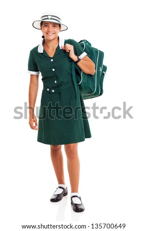 happy female middle school student carrying her backpack isolated on white background - stock photo