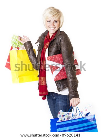 Happy Female Retail Shopper - stock photo