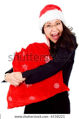 happy female santa with lots of gifts in a red sack isolated over a white background - stock photo