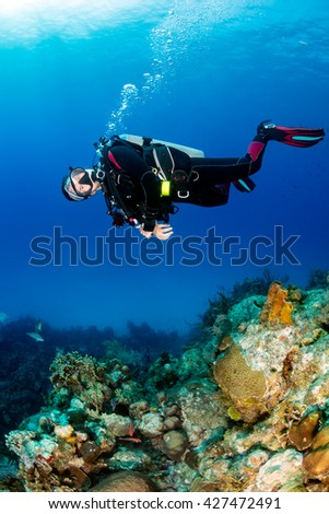 Happy female SCUBA diver on a coral reef - stock photo