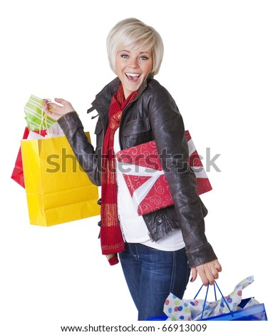 Happy Female Shopper isolated on white - stock photo