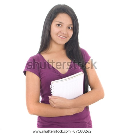Happy female student smiling isolated over a white background - stock photo