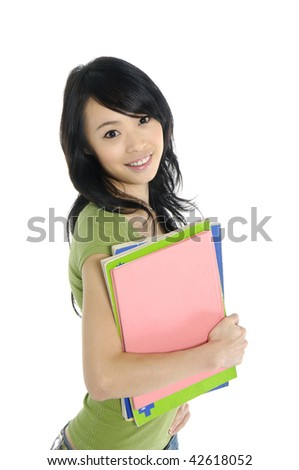 happy female student with notebooks - stock photo