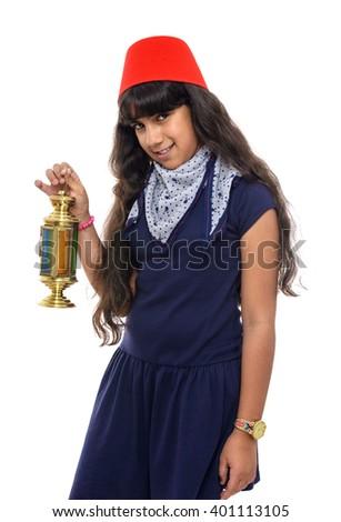 Happy Female Teenager with Ramadan Lantern Isolated on White Background - stock photo