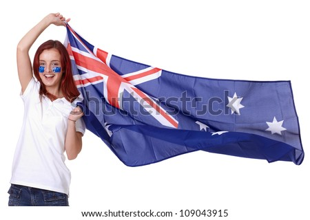 Happy female with Australian flag and small flags on his cheeks, isolated - stock photo